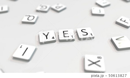 YES word being composed with letters. 3D rendering 50613827