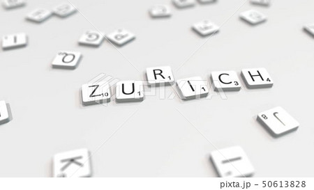ZURICH city name being composed with letters. 3D rendering 50613828