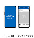 Social network vector template, social frame post, photo media for phone. App network mockup with 50617333