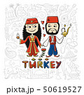 Travel to Turkey. Couple in national clothes for your design 50619527