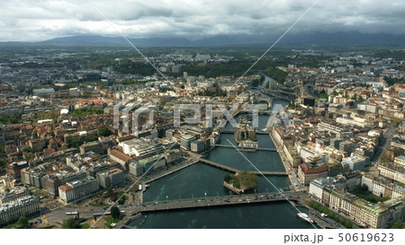 Aerial shot of the city of Geneva and the River Rhone 50619623