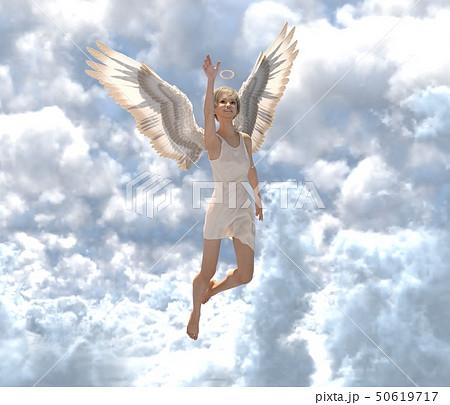 雲の中の可愛い天使 perming3DCG イラスト素材 50619717