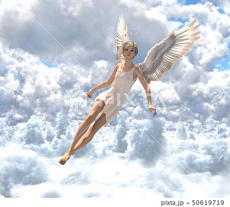 雲の中の可愛い天使 perming3DCG イラスト素材 50619719