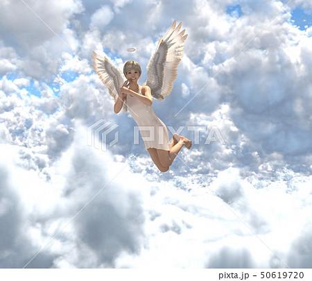 雲の中の可愛い天使 perming3DCG イラスト素材 50619720