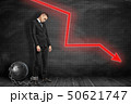 Side view of sad businessman standing shackled to big metal ball and looking down near black graph 50621747