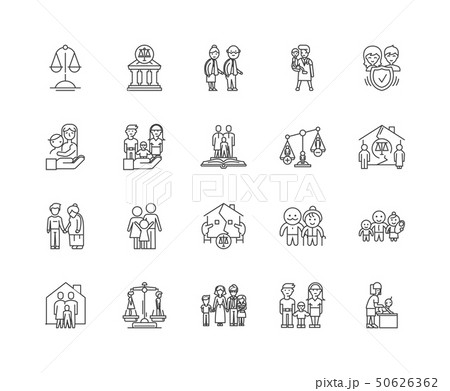 Family law line icons, signs, vector set, outline illustration concept  50626362