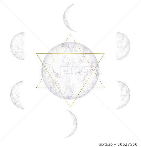 Moon phases of marble texture and Star of David 50627550