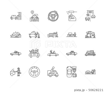 Driving line icons, signs, vector set, outline illustration concept  50628221
