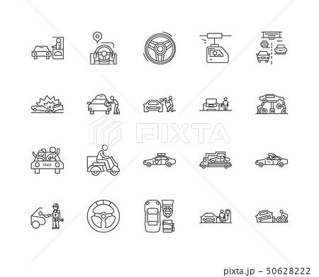 Drive line icons, signs, vector set, outline illustration concept  50628222