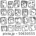 People abstract faces avatars characters black and white icons set 50630555