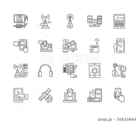 Communication services line icons, signs, vector set, outline illustration concept  50630664