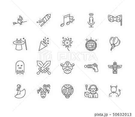 Carnival line icons, signs, vector set, outline illustration concept  50632013