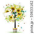 Summer tree in the pot with card for your design 50633162