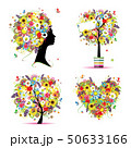 Summer style - tree, frame, bouquet, female head for your design 50633166