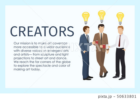 Male creators standing together with cups of coffee banner vector illustration. Lamp as sign of idea 50633801