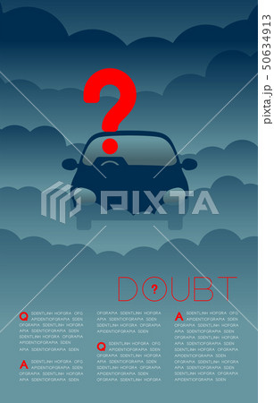 Doubt man in car with Question mark icon pictogram 50634913
