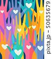 Hands Colorful Volunteers Illustration 50635679