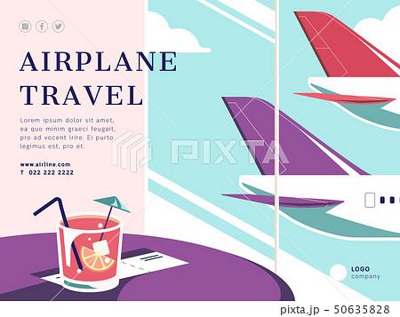 Airplane travel social media post layout 50635828