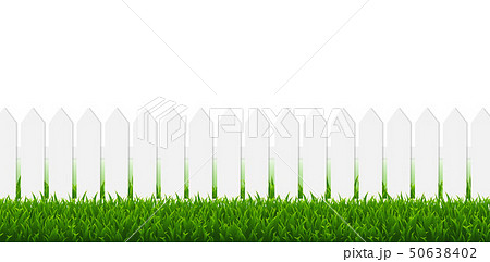 White Fence With Green Grass And White Border 50638402