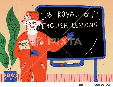 English Lesson. Portrait of teacher near blackboard in classroom. 50639128