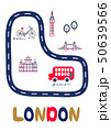 London poster with text and landmarks vector illustration. 50639566