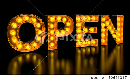 Open signboard from golden light bulb letters 50641017