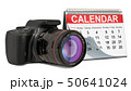 Desk calendar with digital camera, 3D rendering 50641024