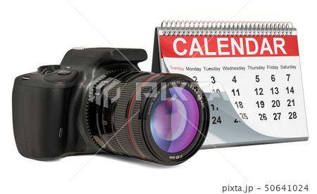 Desk calendar with digital camera, 3D rendering 50641024