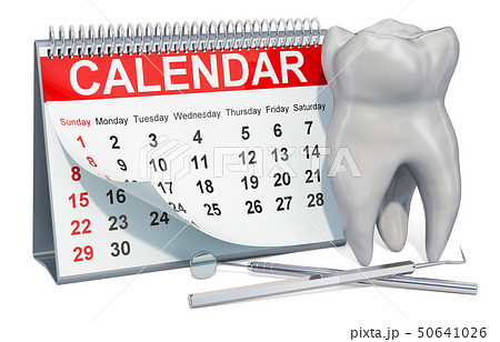 Dentist date concept. Desk calendar with tooth 50641026