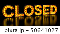 Closed signboard from golden light bulb letters 50641027