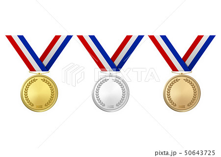 Vector 3d Realistic Gold, Silver and Bronze Award Medal Icon Set with Color Ribbons Closeup Isolated 50643725