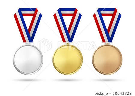 Vector 3d Realistic Gold, Silver and Bronze Award Medal Icon Set with Color Ribbons Closeup Isolated 50643728