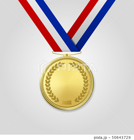 Vector 3d Realistic Gold Award Medal with Color Ribbon Closeup Isolated on White Background. The 50643729