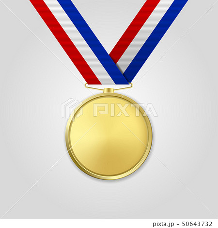 Vector 3d Realistic Gold Award Medal with Color Ribbon Closeup Isolated on White Background. The 50643732