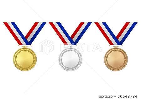 Vector 3d Realistic Gold, Silver and Bronze Award Medal Icon Set with Color Ribbons Closeup Isolated 50643734