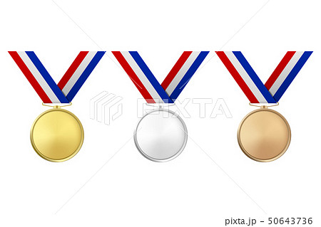 Vector 3d Realistic Gold, Silver and Bronze Award Medal Icon Set with Color Ribbons Closeup Isolated 50643736