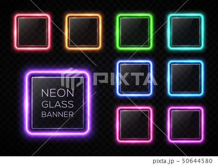 Glossy plastic texture banners set. Colorful square frames with led halogen lamp. Technology 50644580