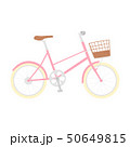 自転車のイラスト。可愛いピンク色のかご付き自転車。 50649815