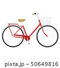自転車のイラスト。赤いポップなカラーの自転車。 50649816