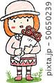 花束 女の子 色鉛筆風のイラスト 50650239