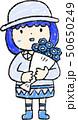 花束 女の子 色鉛筆風のイラスト 50650249