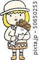 花束 女の子 色鉛筆風のイラスト 50650253