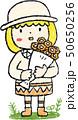 花束 女の子 色鉛筆風のイラスト 50650256