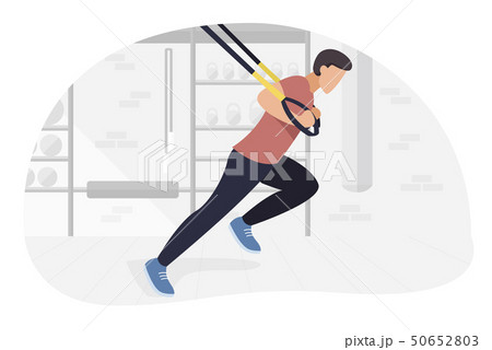 Fit man working out on trx doing bodyweight exercises. Fitness strength training workout. 50652803