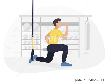 Fit man working out on trx doing bodyweight exercises. Fitness strength training workout. 50652811