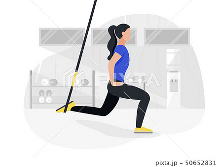 Fit woman working out on trx doing bodyweight exercises. Fitness strength training workout. 50652831