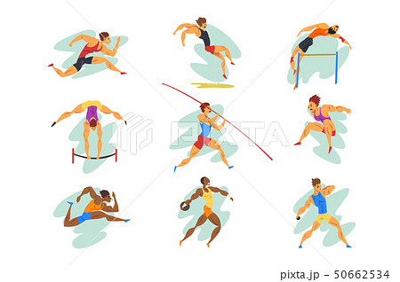 Flat vector set of professional athletes in different actions. Young muscular guys in sportswear 50662534