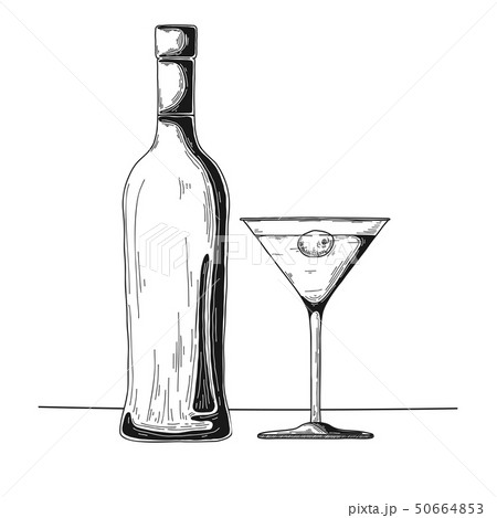 Bottle with alcohol and glass. Vector 50664853