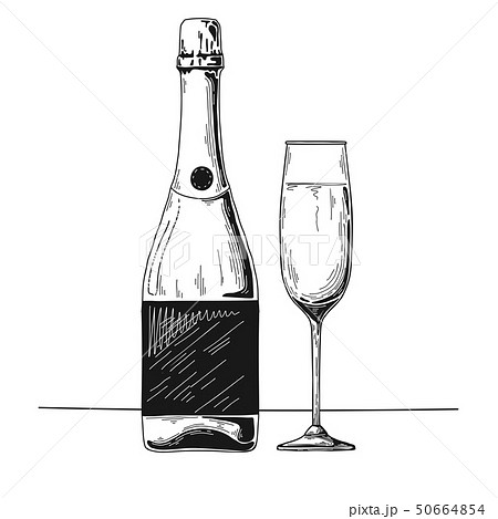 Bottle of champagne and glass. Vector 50664854