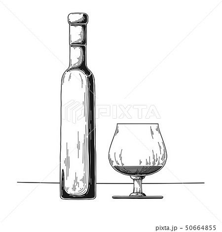 Bottle with alcohol and glass. Vector 50664855